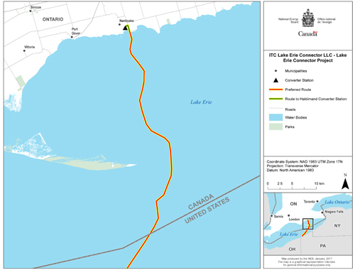 Lake Erie Connector Project Map