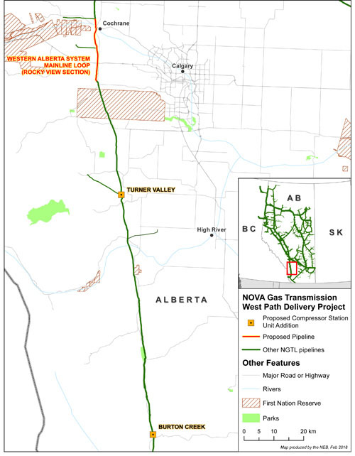 NOVA Gas Transmission West Path Delivery Project Map