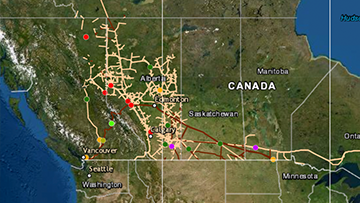 Map of Canada showing the location of pipelines and data we have been collecting on incidents since 2008